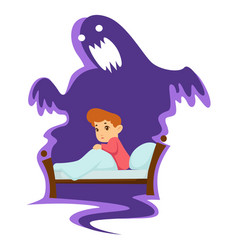 Nightmare childish fear kid in bed and monster vector