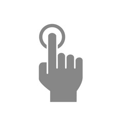 one-finger click grey icon single tap touch vector image