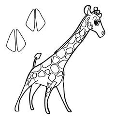 paw print with giraffe Coloring Page vector image
