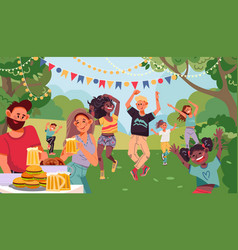 People on garden party drinking couple retro vector