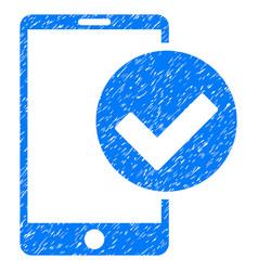 Phone ok grunge icon vector