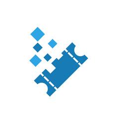 pixels ticket graphic icon design template vector image
