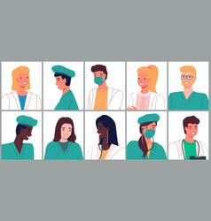 portrait doctors and nurses characters set flat vector image
