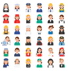 profession and job related icon set 1 female vector image