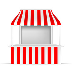 red and white pos poi outdoorindoor 3d stall or vector image