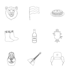 Russia country set icons in outline style Big vector image