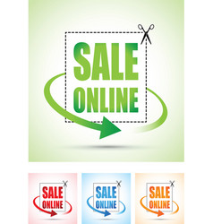 Sale online arrow sign set vector