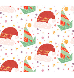 seamless flat pattern with elf and santa claus vector image