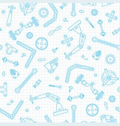 Seamless pattern with details and gears vector