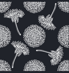 Seamless pattern with hand drawn chalk dandelion vector