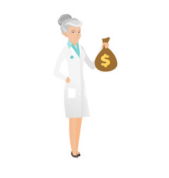 Senior caucasian doctor holding a money bag vector