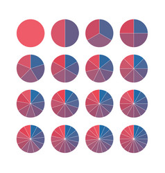 set brightly colored pie charts circle vector image