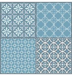 set four seamless geometric pattern vector image