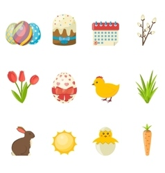 set happy easter icons flat vector image