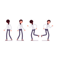 Set of female clerk in walking and running poses vector
