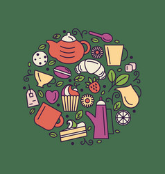set tea theme line art draw icons in circle vector image