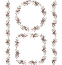 set vintage floral borders sketches vine vector image