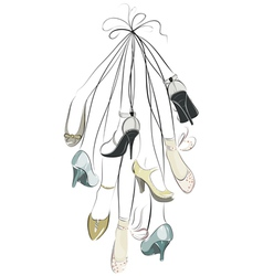 Shoes and legs hanging in a bunch vector
