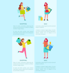 shopping and sale four posters vector image