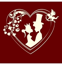 Silhouettes of fairy-tale Prince and Princess vector