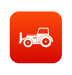 skid steer loader icon digital red vector image
