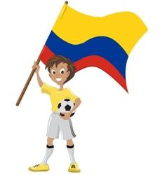 Soccer fan holds Colombian flag vector