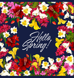 springtime flowers seasonal poster vector image