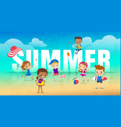 Summer holiday on beach children with many vector