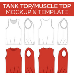 Tank top and muscle shirt top - template mockup vector