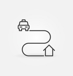 taxi home route concept icon in thin line vector image