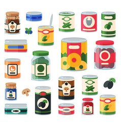 Tins canned goods food container grocery store and vector