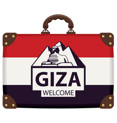 Travel suitcase with egyptian flag and sphinx vector