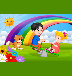 Two children and dogs playing seesaw in the park vector