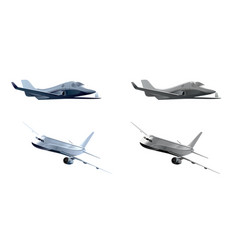 Two realistic airplanes vector