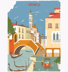 venice italy in sunny day in old style vector image
