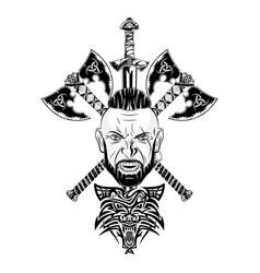 Viking totem wolf 0001 vector