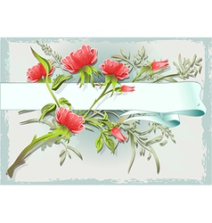 Vintage Flower Ornament with Banner vector image