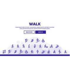 walk people motion landing header vector image