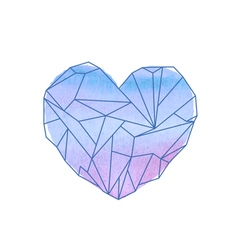 Watercolor mineral heart-shaped crystal vector