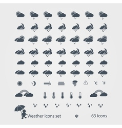 Weather black icons set vector image