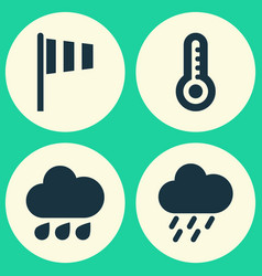 Weather icons set collection of flag temperature vector