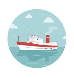 white ship at sea vector image