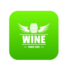 wine barrel icon green vector image