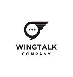 Wings talk logo design vector