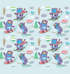 winter skii pattern design with fun monsters vector image