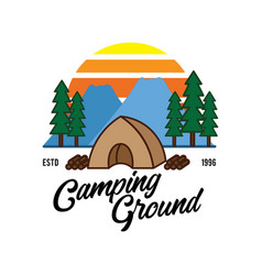 Wood camping logo design vector