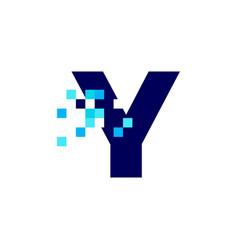 Y letter pixel mark digital 8 bit logo icon vector