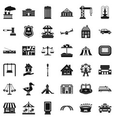 big city icons set simple style vector image vector image