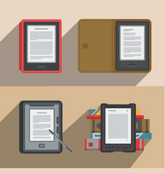 electronic books icon set flat electronics vector image vector image