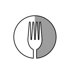 fork utensil kitchen sticker shadow vector image